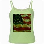 Grunge United State Of Art Flag Green Spaghetti Tank Front