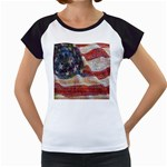 Grunge United State Of Art Flag Women s Cap Sleeve T Front