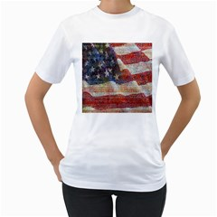 Grunge United State Of Art Flag Women s T-Shirt (White) (Two Sided)