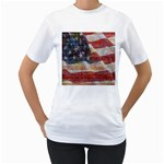 Grunge United State Of Art Flag Women s T-Shirt (White) (Two Sided) Front
