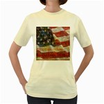 Grunge United State Of Art Flag Women s Yellow T-Shirt Front