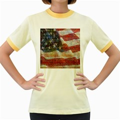 Grunge United State Of Art Flag Women s Fitted Ringer T-Shirts