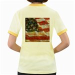 Grunge United State Of Art Flag Women s Fitted Ringer T-Shirts Back