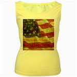Grunge United State Of Art Flag Women s Yellow Tank Top Front