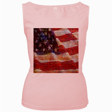 Grunge United State Of Art Flag Women s Pink Tank Top