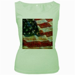 Grunge United State Of Art Flag Women s Green Tank Top
