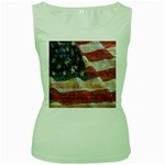 Grunge United State Of Art Flag Women s Green Tank Top Front