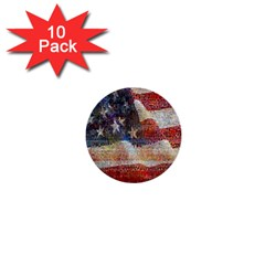 Grunge United State Of Art Flag 1  Mini Buttons (10 pack)