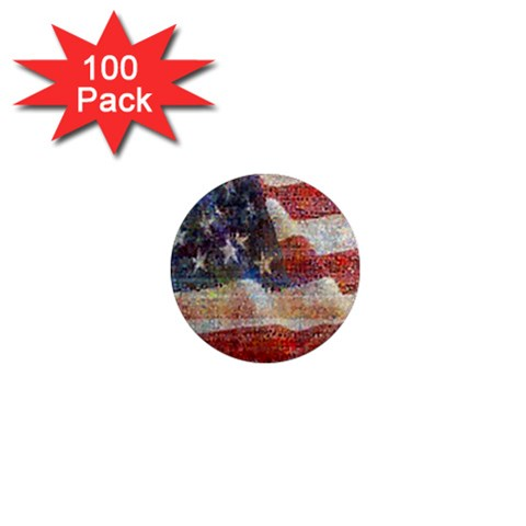 Grunge United State Of Art Flag 1  Mini Magnets (100 pack)