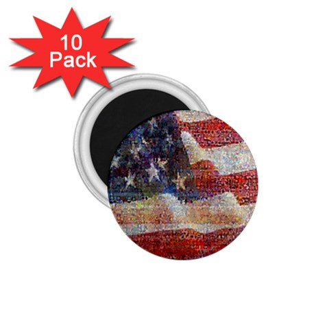 Grunge United State Of Art Flag 1.75  Magnets (10 pack)