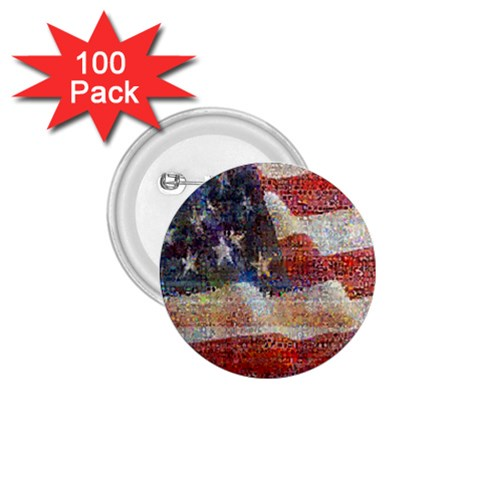 Grunge United State Of Art Flag 1.75  Buttons (100 pack)
