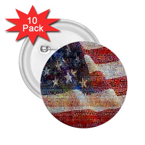 Grunge United State Of Art Flag 2.25  Buttons (10 pack)
