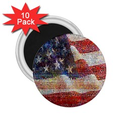 Grunge United State Of Art Flag 2.25  Magnets (10 pack)