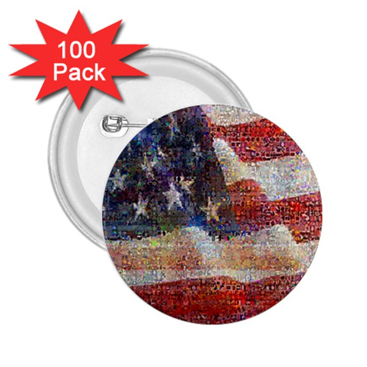 Grunge United State Of Art Flag 2.25  Buttons (100 pack)