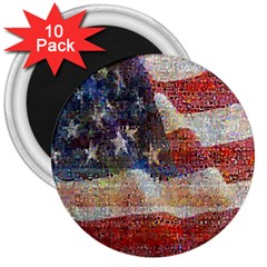 Grunge United State Of Art Flag 3  Magnets (10 pack)