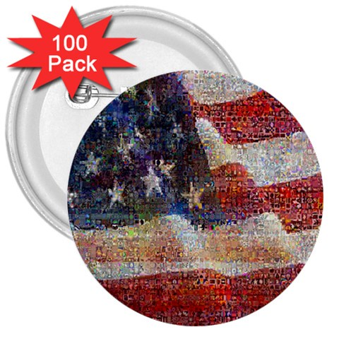 Grunge United State Of Art Flag 3  Buttons (100 pack)