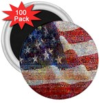 Grunge United State Of Art Flag 3  Magnets (100 pack) Front
