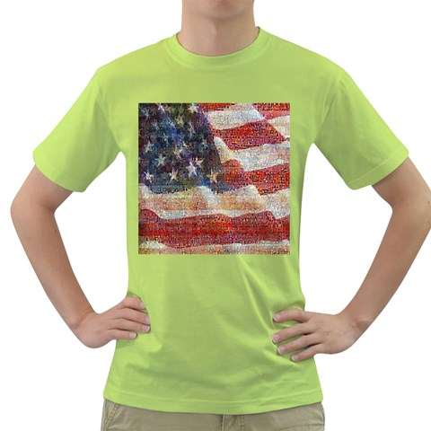 Grunge United State Of Art Flag Green T-Shirt