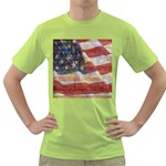 Grunge United State Of Art Flag Green T-Shirt Front