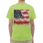 Grunge United State Of Art Flag Green T-Shirt Back