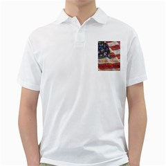 Grunge United State Of Art Flag Golf Shirts