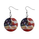 Grunge United State Of Art Flag Mini Button Earrings Front