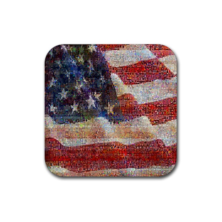 Grunge United State Of Art Flag Rubber Square Coaster (4 pack)