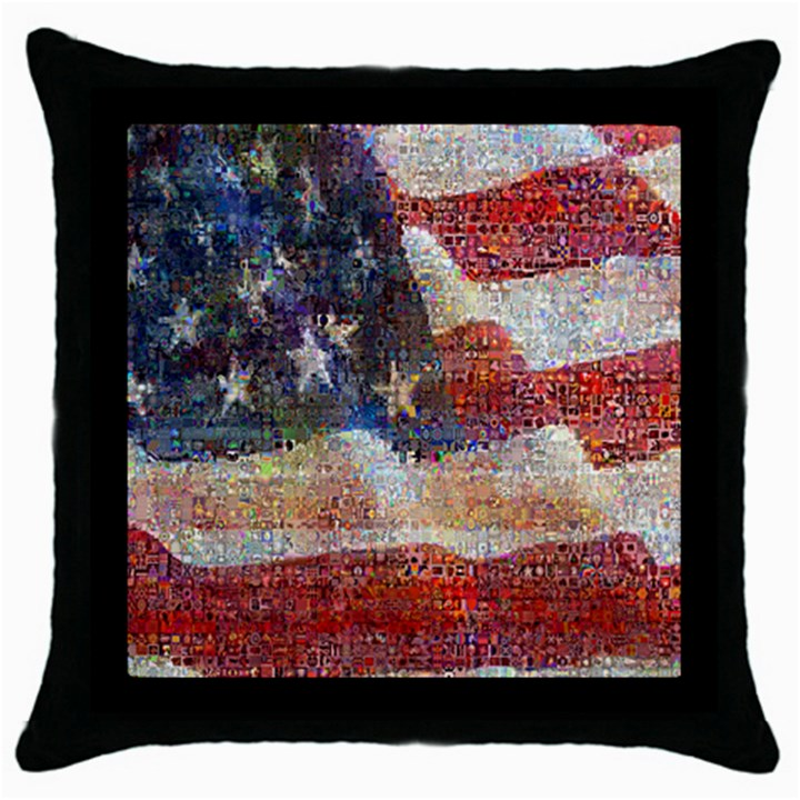 Grunge United State Of Art Flag Throw Pillow Case (Black)