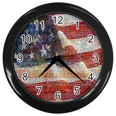Grunge United State Of Art Flag Wall Clocks (Black)