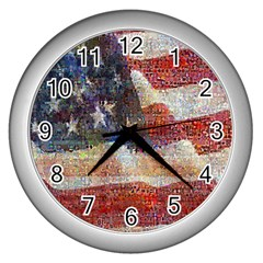 Grunge United State Of Art Flag Wall Clocks (Silver)