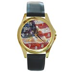 Grunge United State Of Art Flag Round Gold Metal Watch Front
