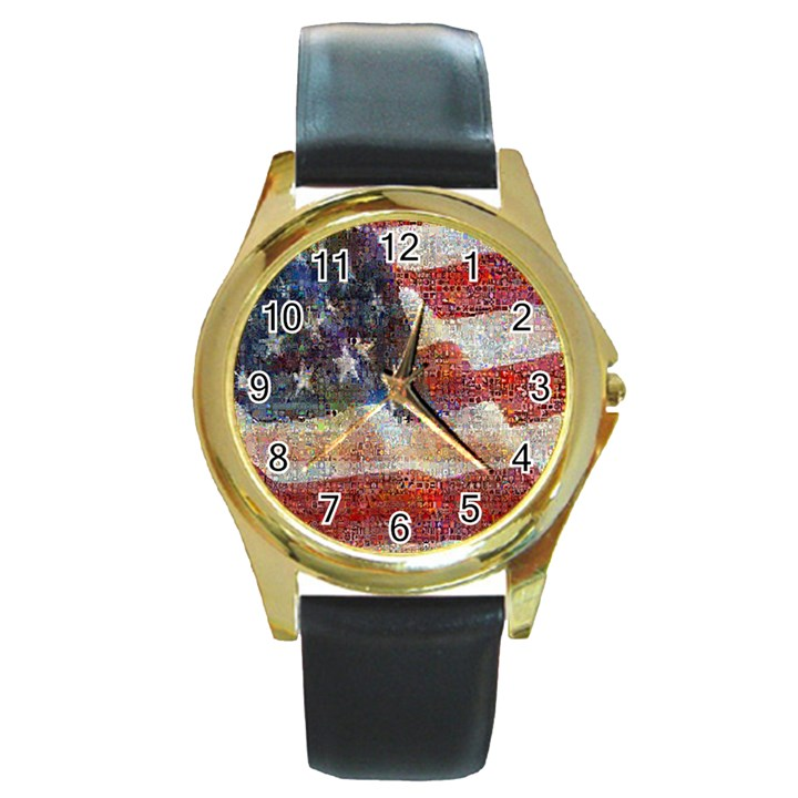 Grunge United State Of Art Flag Round Gold Metal Watch