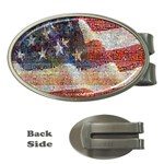 Grunge United State Of Art Flag Money Clips (Oval)  Front