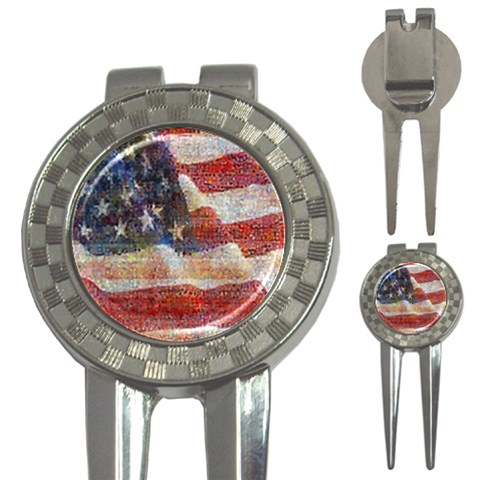 Grunge United State Of Art Flag 3-in-1 Golf Divots