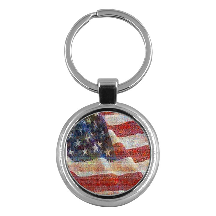 Grunge United State Of Art Flag Key Chains (Round)