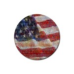 Grunge United State Of Art Flag Rubber Round Coaster (4 pack)  Front