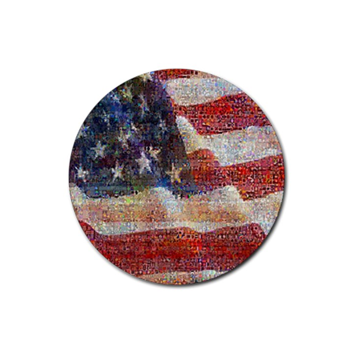 Grunge United State Of Art Flag Rubber Round Coaster (4 pack)