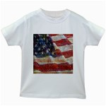 Grunge United State Of Art Flag Kids White T-Shirts Front