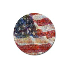Grunge United State Of Art Flag Magnet 3  (Round)
