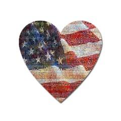 Grunge United State Of Art Flag Heart Magnet