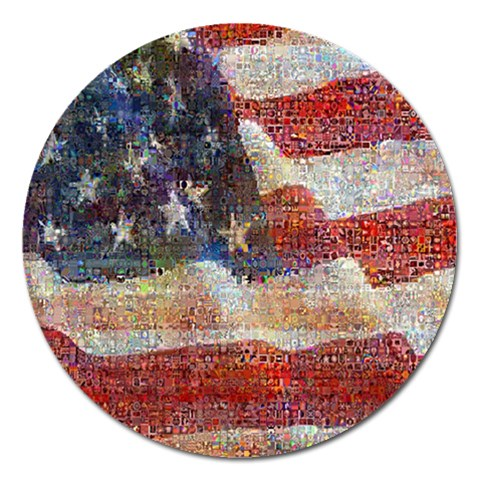Grunge United State Of Art Flag Magnet 5  (Round)