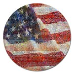 Grunge United State Of Art Flag Magnet 5  (Round) Front