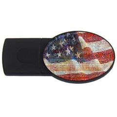 Grunge United State Of Art Flag USB Flash Drive Oval (2 GB)