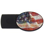 Grunge United State Of Art Flag USB Flash Drive Oval (1 GB)  Front