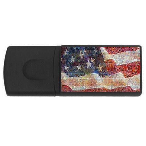 Grunge United State Of Art Flag USB Flash Drive Rectangular (2 GB)