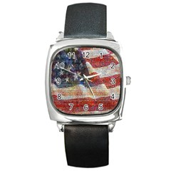 Grunge United State Of Art Flag Square Metal Watch