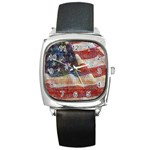 Grunge United State Of Art Flag Square Metal Watch Front