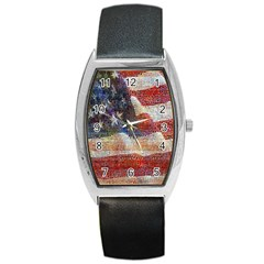 Grunge United State Of Art Flag Barrel Style Metal Watch