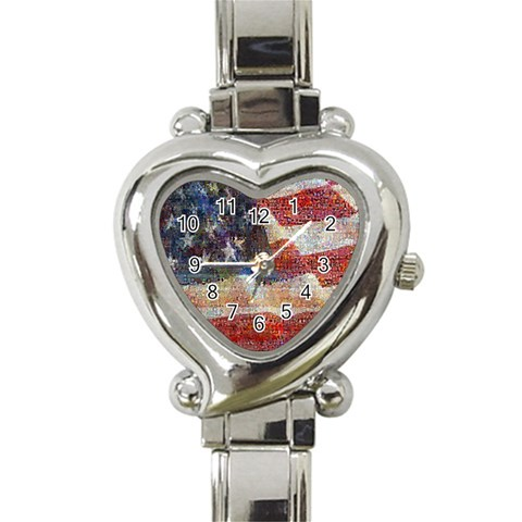 Grunge United State Of Art Flag Heart Italian Charm Watch