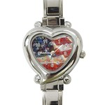 Grunge United State Of Art Flag Heart Italian Charm Watch Front